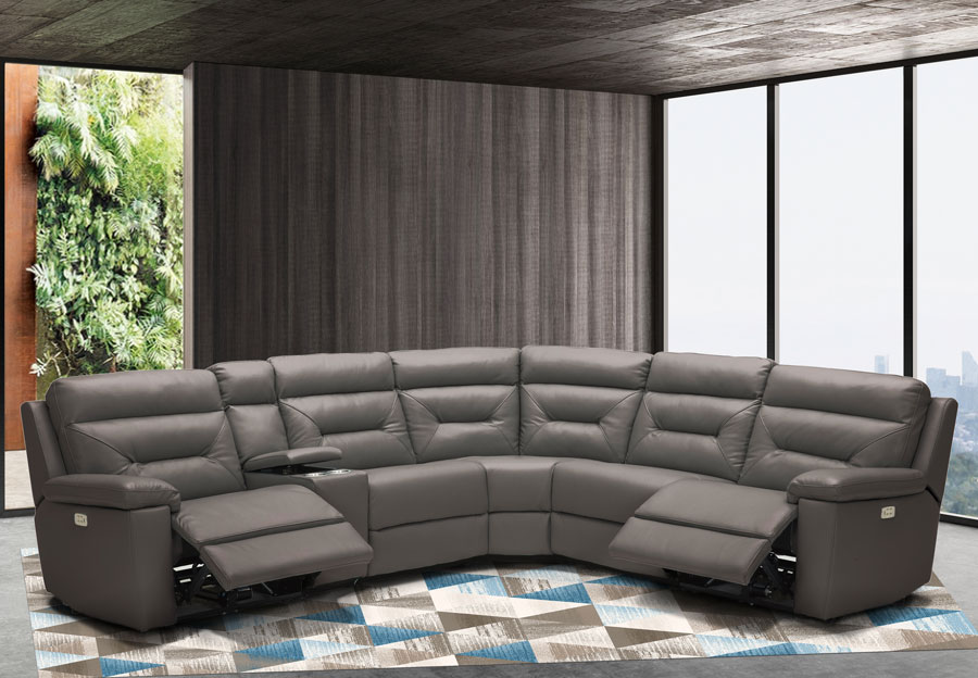 Kuka Grand Point Charcoal Three Power Reclining Leather Match Sectional