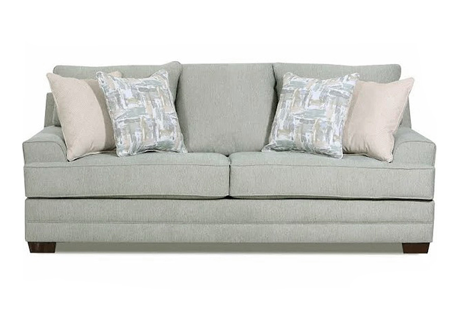 Lane Annabelle Spa Sofa with Niko Platinum and Fingerpaint Spa Accent Pillows