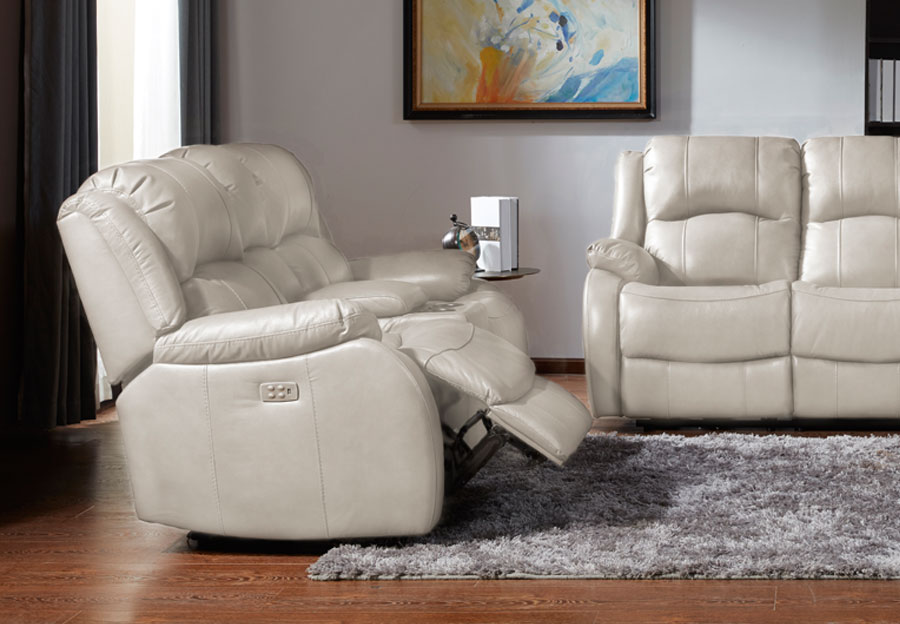 Kuka Cape Town Ivory Leather Match Manual Reclining Console Loveseat