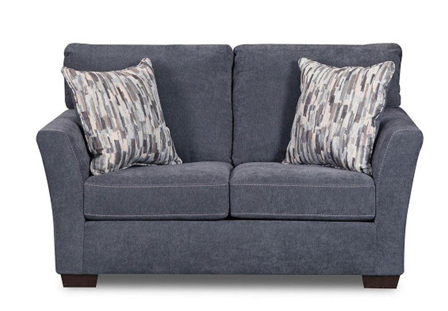 Lane Pacific Steel Blue Loveseat with Highway Driftwood Accent Pillows