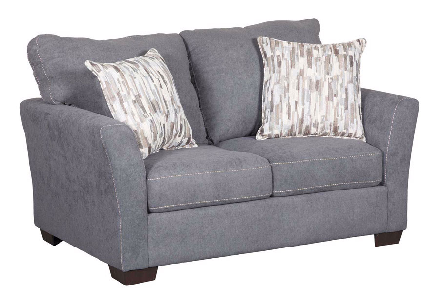 LOVESEAT PACIFIC STEEL WITH HIGHWAY DRIFTWOOD AND CRUZE DRIFTWOOD PILLOWS