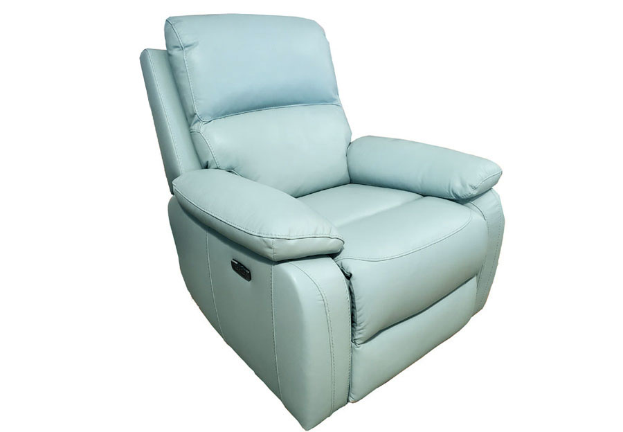 Kuka Carter Lt. Blue Dual Power Recliner With Swivel Glider Leather Match