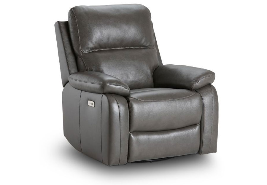 Kuka Carter Charcoal Dual Power Leather Match Recliner With Swivel Glider