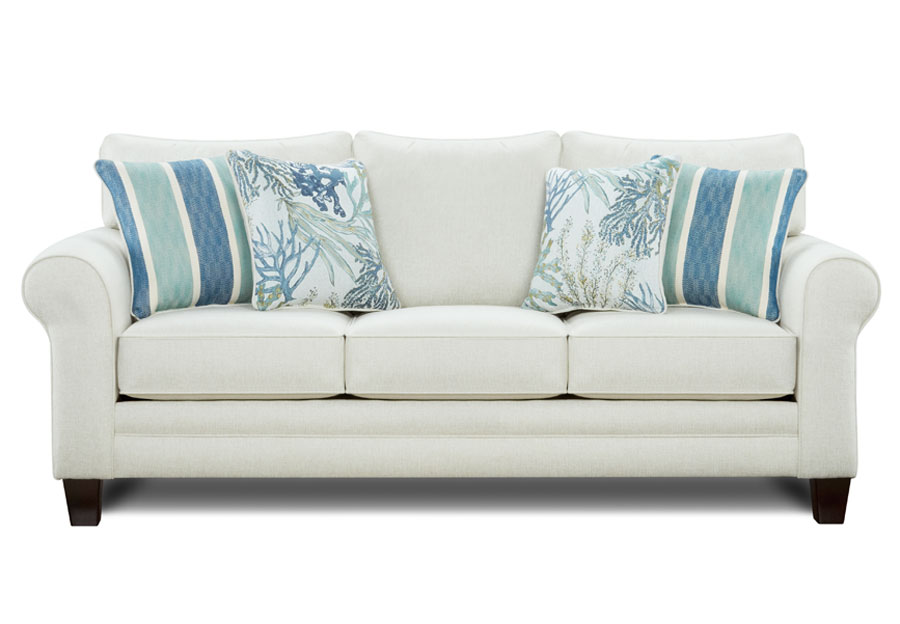 Fusion Grande Glacier Sofa with Coral Reef Oceanside and Life's-A-Beach Accent Pillows