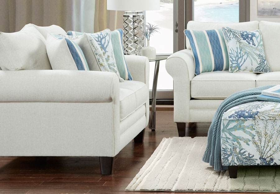 Fusion Grande Glacier Loveseat with Coral Reef Oceanside and Life's-A-Beach Accent Pillows