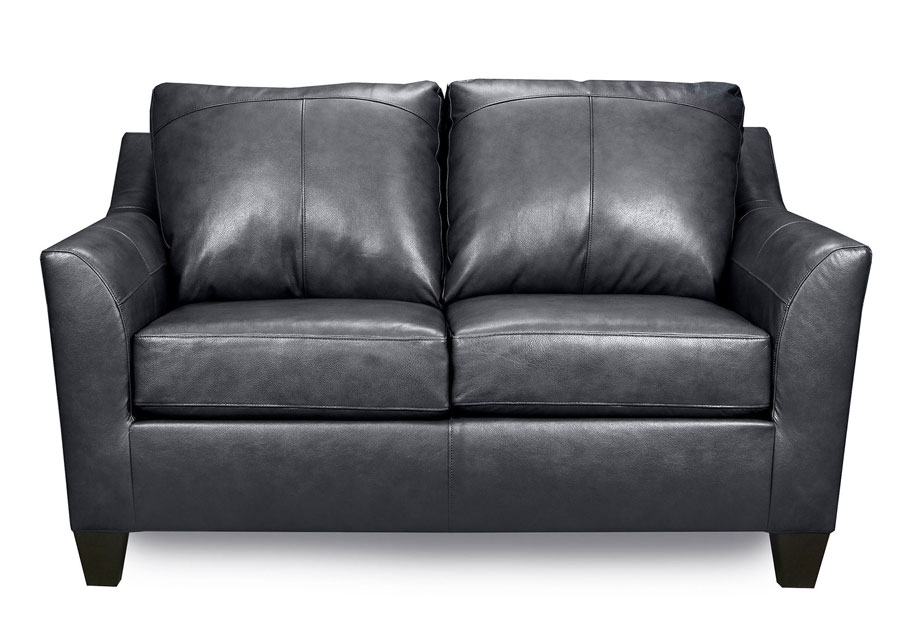 Lane Avery Fog Leather Match Loveseat