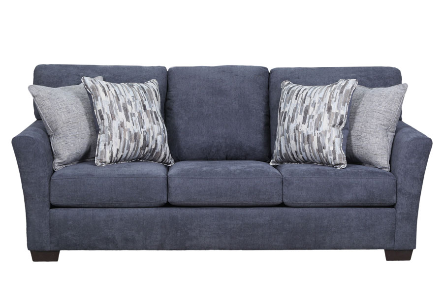 Lane Pacific Steel Blue Queen Sleeper Sofa and Loveseat with Highway Driftwood and Cruze Driftwood Pillows
