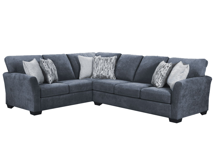 Lane Pacific Steel Blue Two Piece Sectional with Highway Driftwood and Cruze Driftwood Pillows