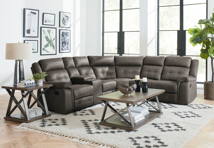 Standard El Paso Grey Sectional With Console and Two Recliners