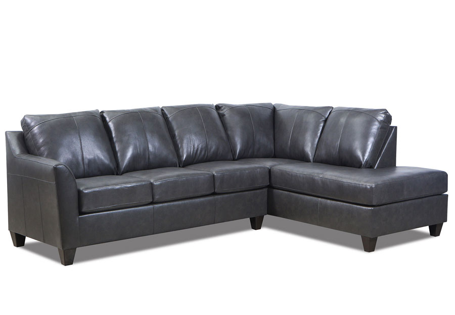 Lane Avery Fog Leather Match Two Piece Sectional