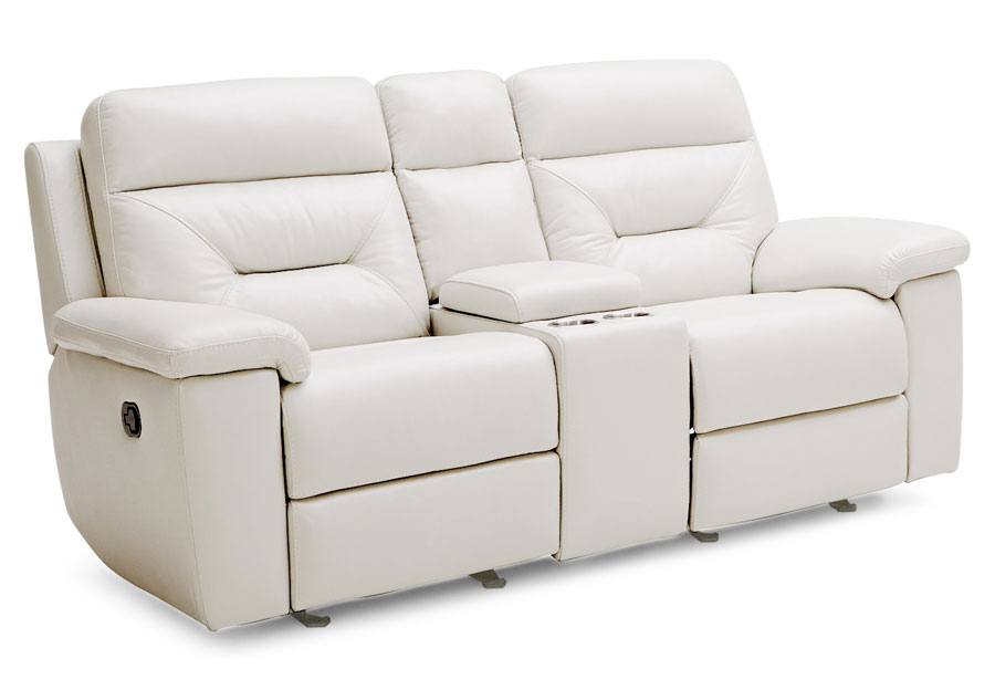 Kuka Grand Point Ivory Manual Leather Match Reclining Sofa and Reclining Console Loveseat