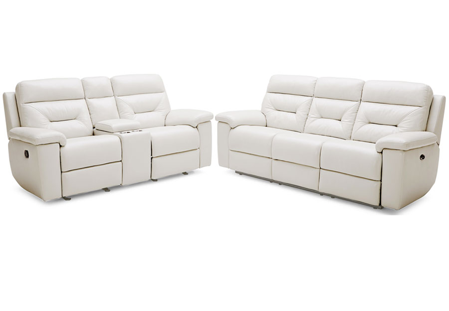 Kuka Grand Point Ivory Power Leather Match Reclining Sofa and Reclining Console Loveseat
