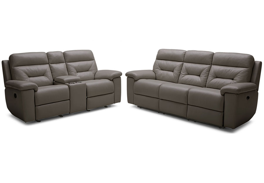 Kuka Grand Point Charcoal Power Reclining Sofa and Reclining Console Loveseat Leather Match