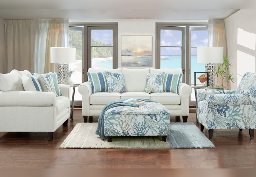 Fusion Grande Glacier Sofa and Loveseat with Coral Reef Oceanside and Life's Beach Accent Pillows