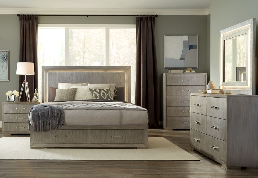 Lifestyle Meridian King Headboard, Storage Footboard, Rails, Dresser and Mirror