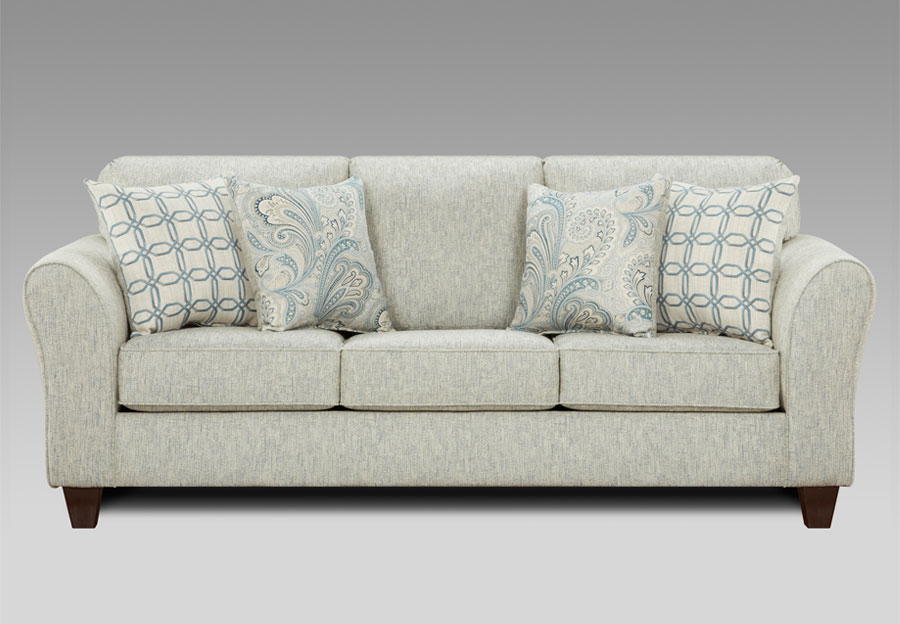 Affordable Furniture Light Doe Sofa with Barilla Denim and Lisa Denim Accent Pillows