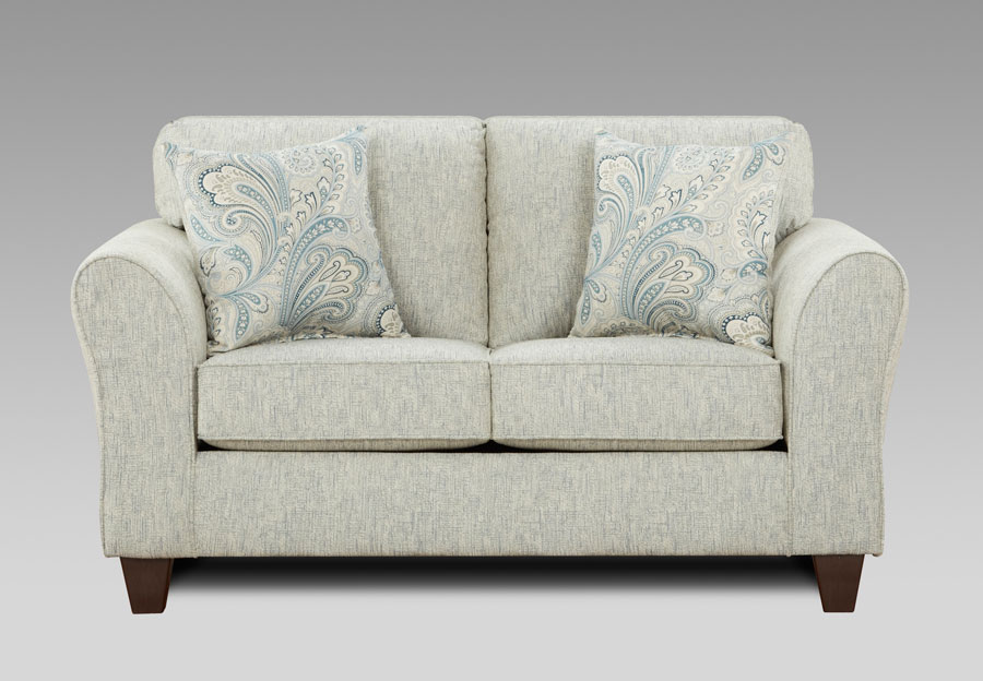 Affordable Furniture Light Doe Loveseat with Barilla Denim and Lisa Denim Accent Pillows