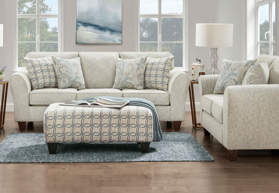 Affordable Furniture Light Doe Sofa and Loveseat with Barilla Denim and Lisa Denim Accent Pillows