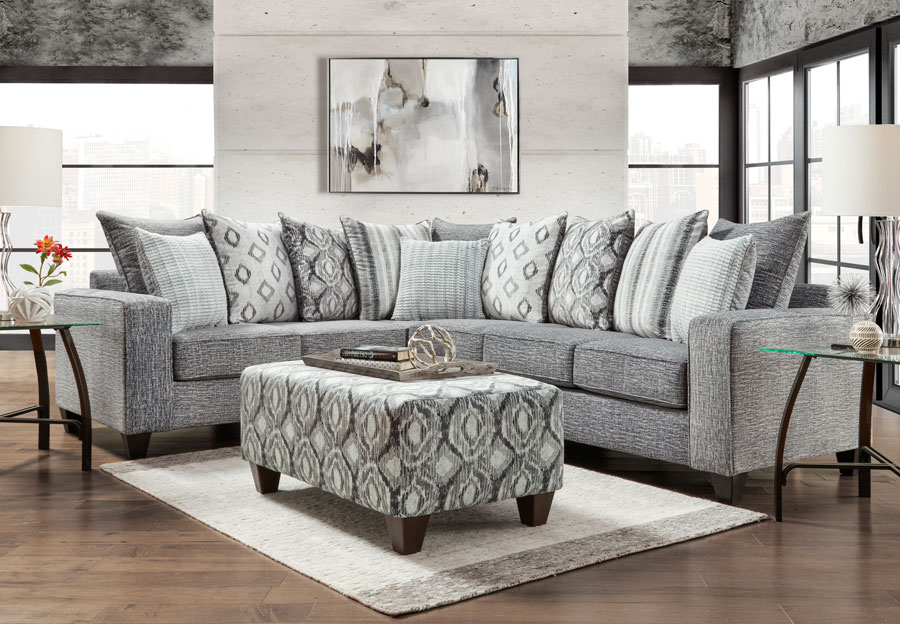 Affordable Furniture Stonewash Charcoal Sectional