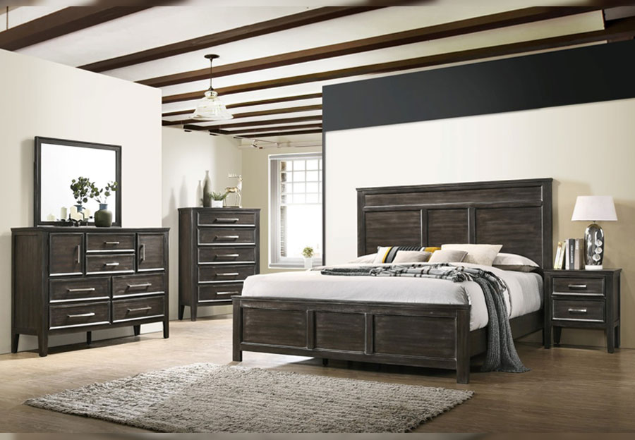 New Classic Andover Nutmeg Queen Headboard, Footboard, Rails, Dresser and Mirror