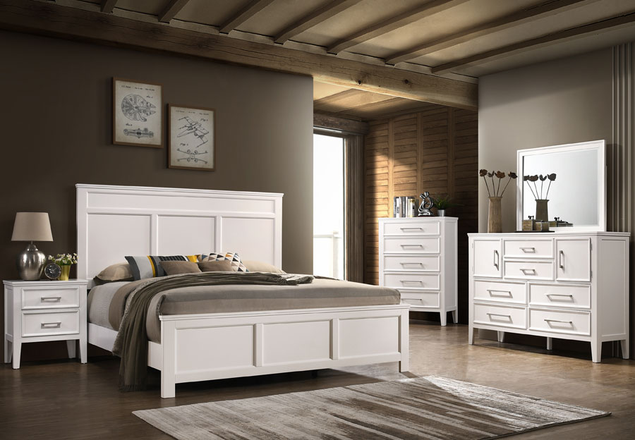 New Classic Andover White Queen Headboard, Footboard, Rails, Dresser and Mirror