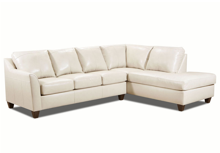 Lane Avery Cream Leather Match Two-Piece Sectional