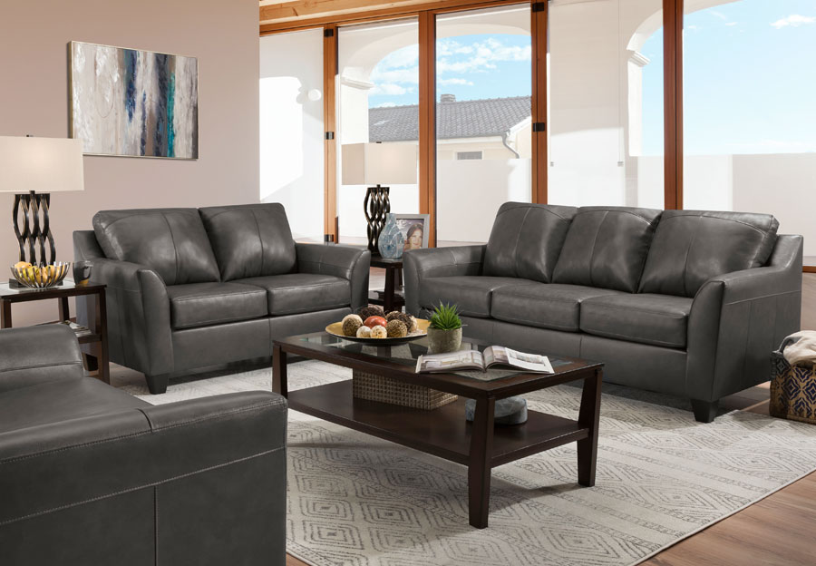 Lane Avery Fog Leather Match Sofa and Loveseat