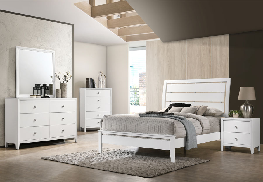 Lane Grant White King Bed, Dresser, and Mirror