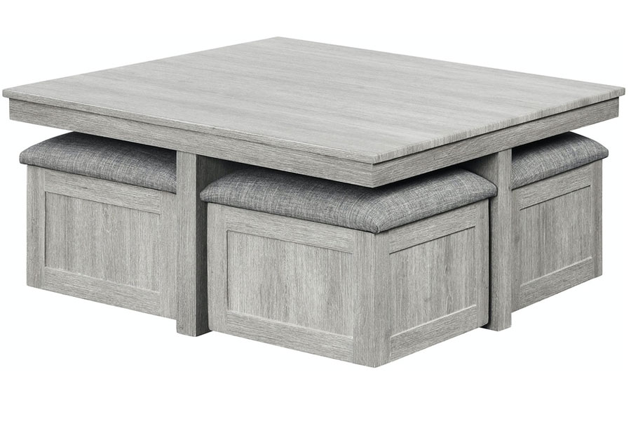 Elements Uster Coffee table With Four Storage Ottomans