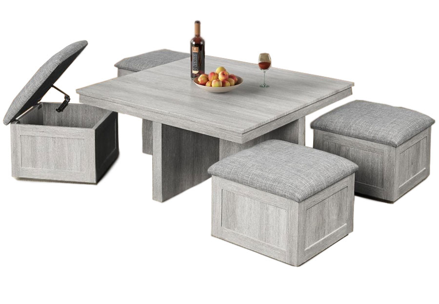 Elements Uster Cocktail table With Four Storage Ottomans