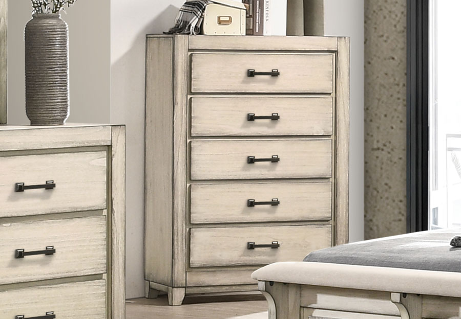 New Classic Ashland Rustic White Five Drawer Chest