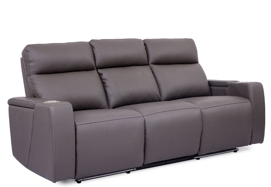 Cheers Lonzo Transformer Grey Dual Power Reclining Sofa with Dropdown Center Console