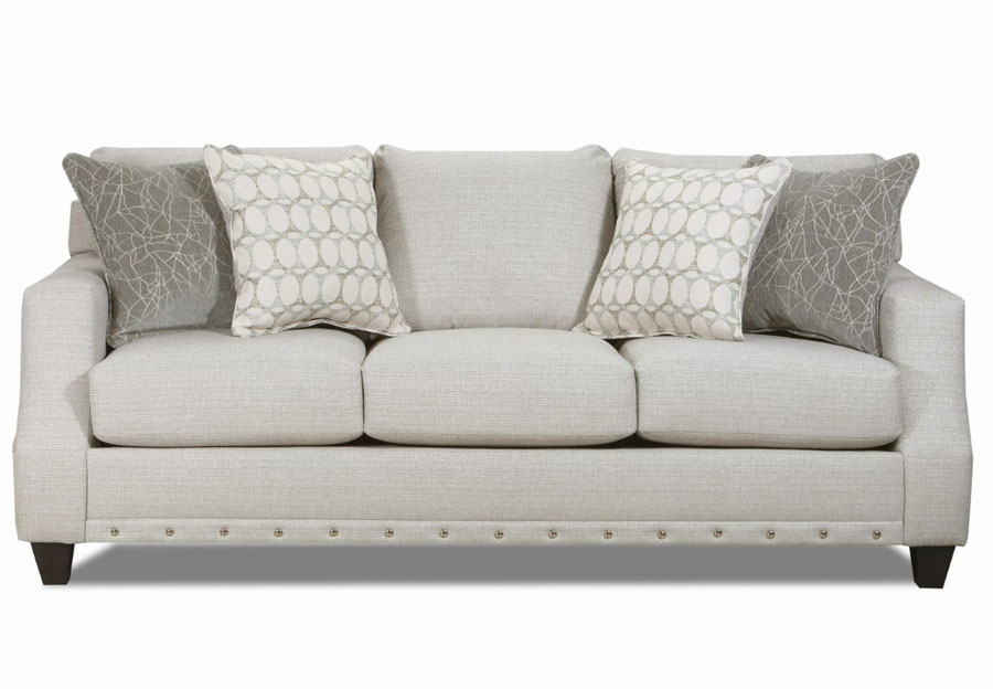 Lane Garrett Birch Sofa with Piper Lagoon and Equinox Platinum Accent Pillows