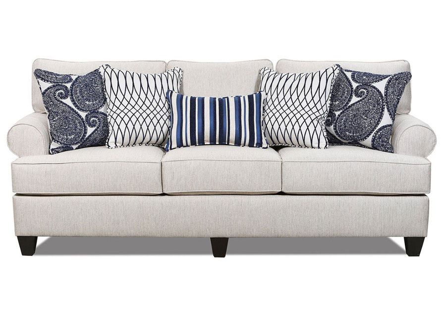 Lane Maggie Linen Sofa with Francesca Indigo, Divine Indigo, and Disteel Indigo Accent Pillows