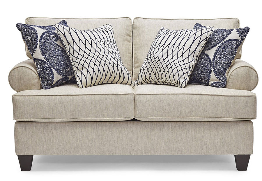Lane Maggie Linen Loveseat with Francesca Indigo and Divine Indigo Accent Pillows