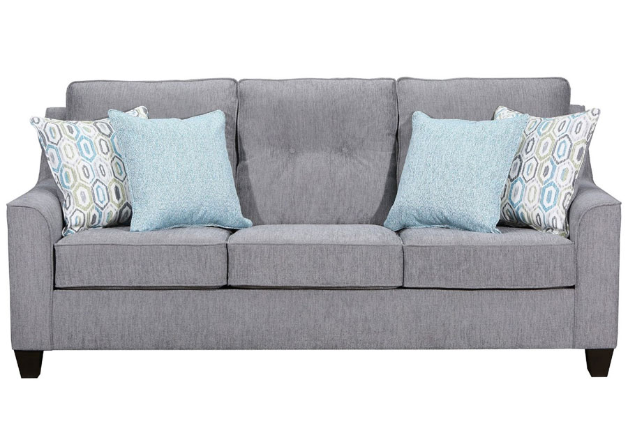 Lane Blair Surge Smoke Sofa with Soma Turquoise and Harbor Island Turquoise Accent Pillows