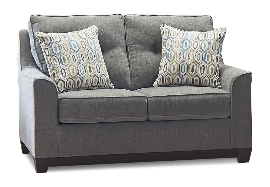 Lane Blair Surge Smoke Loveseat with Soma Turquoise Accent Pillows