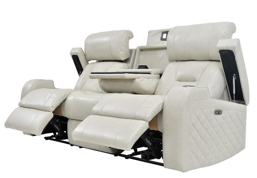 Synergy Luxe Transformer Cream Leather Match Dual Power Reclining Console Sofa