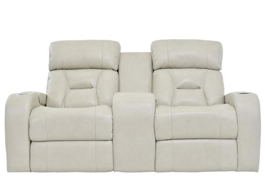 Synergy Luxe Transformer Cream Dual Power Reclining Console Loveseat Leather Match