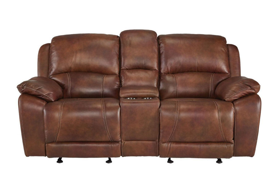 Cheers Princeton Chocolate Leather Match Dual Power Reclining Console Loveseat