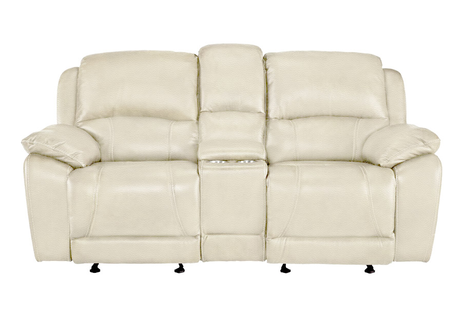 Cheers Princeton Bone Leather Match Manual Reclining Console Loveseat