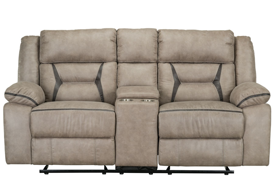 Lane Engage Taupe Glider Reclining Loveseat With CenterConsole
