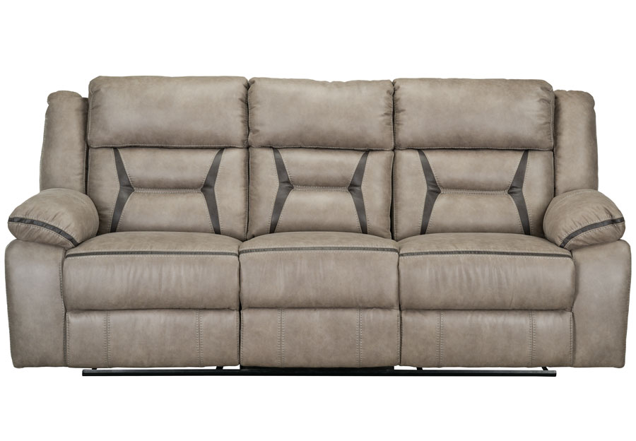 Lane Engage Taupe Dual Power Reclining Sofa with Dropdown Table (Power Headrest And Footrest)