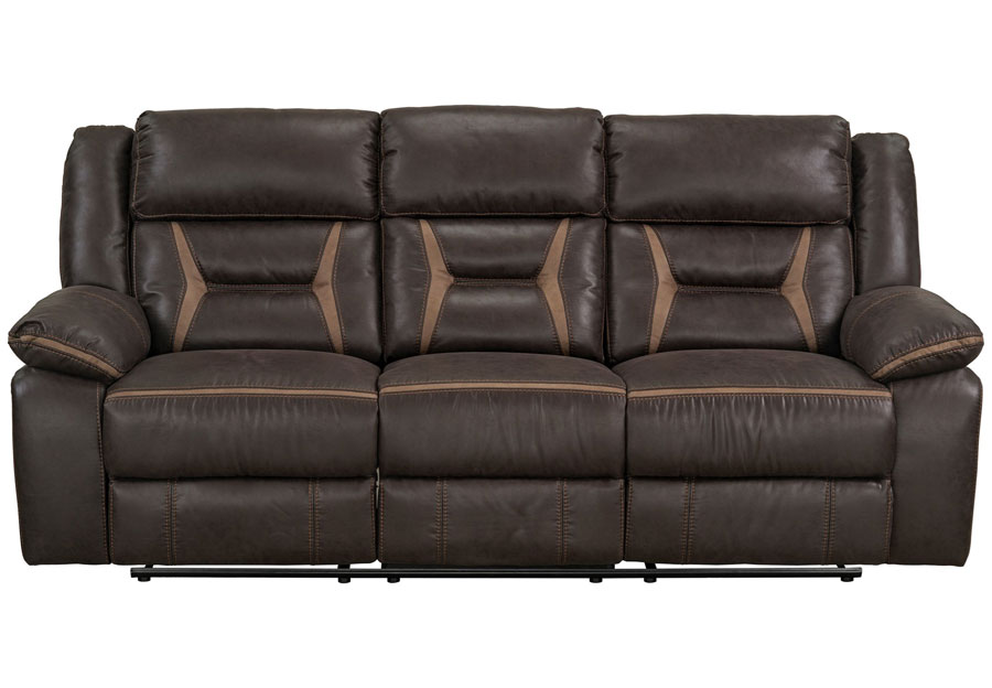 Lane Engage Chocolate Dual Power Reclining Sofa with Dropdown Table (Power Headrest And Footrest)
