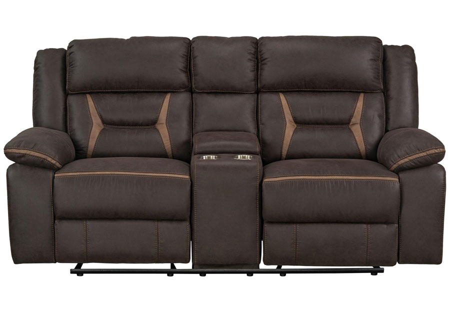Lane Engage Chocolate Dual Power Gliding Reclining Loveseat With Center Console (Power Headrest and Footrest)