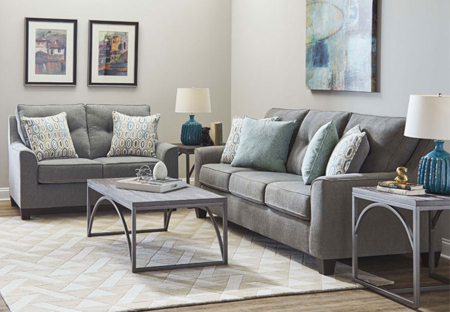 Lane Blair Surge Smoke Sofa and Loveseat with Soma Turquoise and Harbor Island Turquoise Accent Pillows