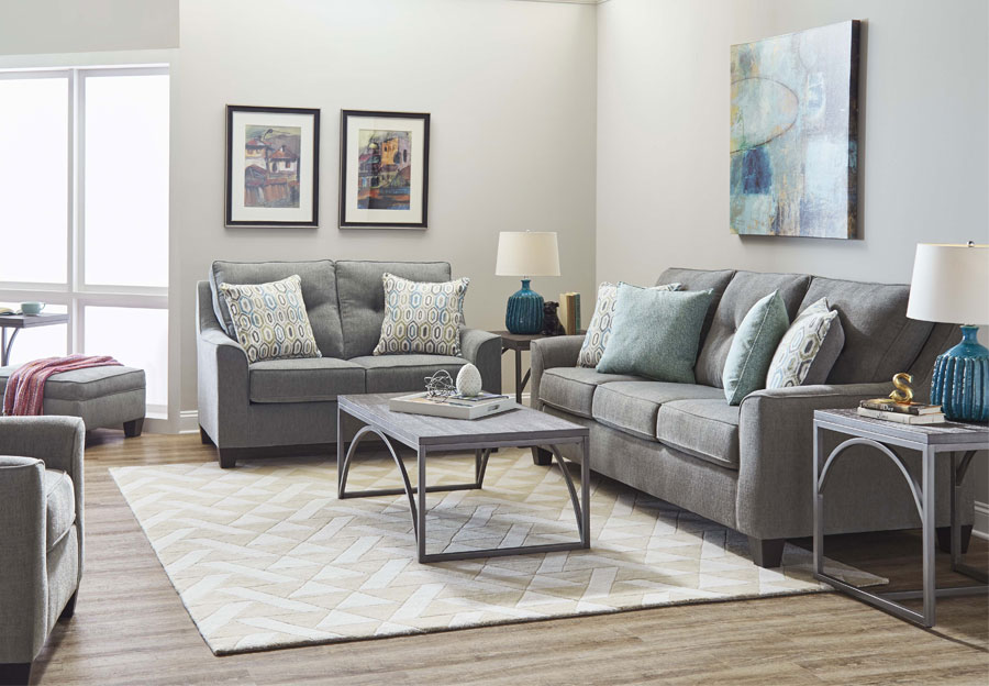 Lane Blair Surge Smoke Queen Sleeper Sofa and Loveseat With Soma Turquoise and Harbor Island Turquoise Accent Pillows
