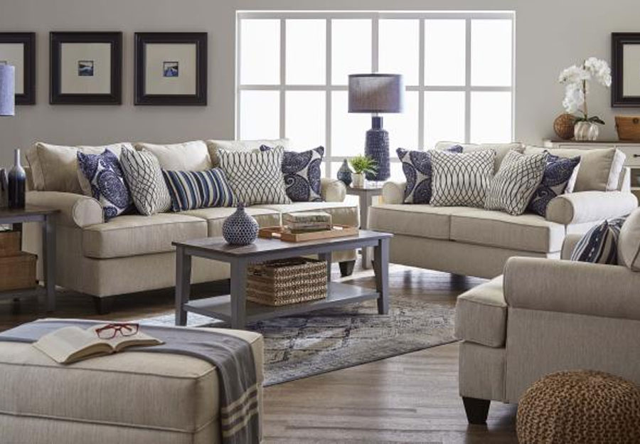 Lane Maggie Linen Sofa and Loveseat With Francesca Indigo and Divine Indigo Accent Pillows