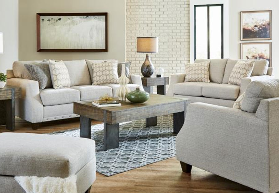 Lane Garrett Birch Queen Sleeper Sofa and Loveseat with Piper Lagoon and Equinox Platinum Accent Pillows