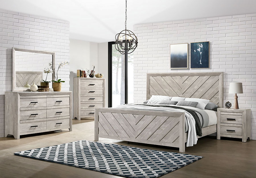 Elements Ellen White Queen Headboard, Footboard, Rails, Dresser, and Mirror